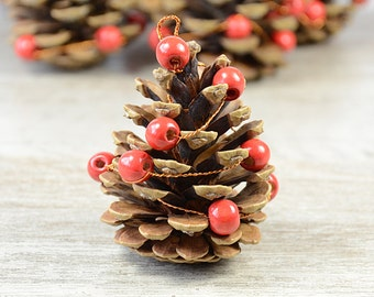 Christmas Tree Ornaments Pine Cone Xmas Decoration Rustic Woodland  Woodland Wedding Winter Decor Natural PineCones, set of 6,  scandinavian