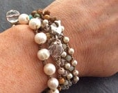 Pearl crochet bracelet - elegant layering jewelry, organic stacking boho chic by mollymoojewels