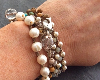 Pearl crochet bracelet - classic simple & easy layering, organic freshwater pearls, gift for her by mollymoojewels.