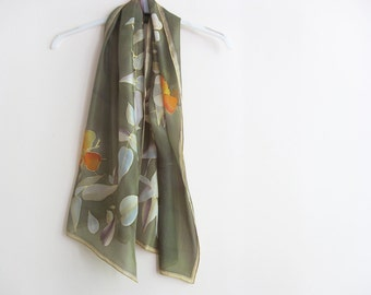 Hand painted silk scarf Floral green wearable art women gift - ready to ship