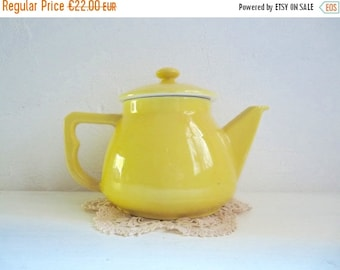 BLACK FRIDAY  SALE Vintage French Yellow Coffee  Pot, Ceramic tea or coffee pot, It Contains 0.9 liter. Stamped Multi 6.