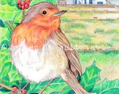 """Christmas Card - Robin with Whitstable - 7"""" x 5"""""""