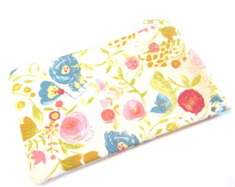 Floral Cosmetic Bag, Zippered Pouch, Modern Flower Print Pouch, Gadget Accessory