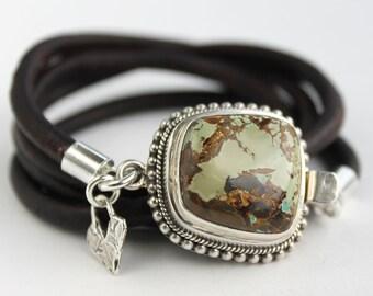 Turquoise silver bracelet - natural turquoise, silver and leather artisan bracelet, boho multi wrap bracelet