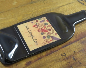 Flat Bottle - Custom Vintage Label - Live, Laugh, Love -  Makes Great Wall Hanging or Cheese Tray or Board