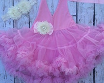 Petti-Dress-Baby-Summer-Halter-Girls -Ruffles-Posh-1st-Birthday-Outfit-Tutu-Baby Outfit-Pink-Unique-Bloomer- Toddler- Photo Prop