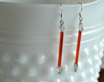 Orange Glass Tube and Grey Quartz Arrow Drop Earrings
