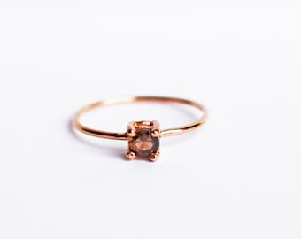 14K Rose Gold Solitaire Ring, Smoky Topaz, Rustic, Wedding Ring, Engagement Ring, Tiny Ring, Skinny Band