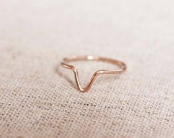 Chevron Stacking Ring, 14k Rose Gold, 14k White Gold, 14k Yellow Gold, Sterling Silver, Skinny Ring, Ring set, Triangle Ring