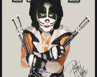 KISS Peter Criss AHEAD Drumsticks Stand-Up Display - Kiss Band Gift Idea Kiss Collectibles Kiss Memorabilia Retro Posters Kiss Army kiss76