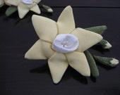 Yellow Daffodil  Ornament,Chirimen Zaiku,Japanese  Kimono fabric# 3