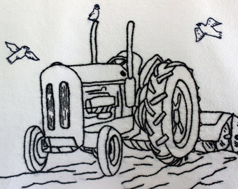 Hand Embroidered Tea Towel Dish Towel ~ Tractor