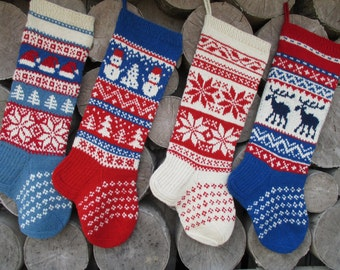 Christmas Stocking Personalized Hand knit Wool Stocking Red White Blue with  Deer Snowflakes Trees Snowman Santa