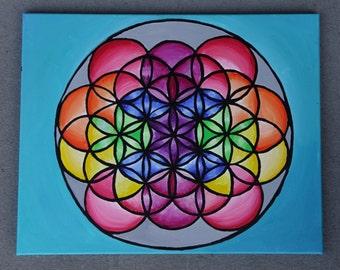 Flower Of Life Painting - Original Artwork Colorful Sacred GeometryEsoteric Knowledge Greek