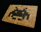Space Invaders - Cheese Board / Trivet - Wood Pixel Art