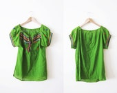 Mexican Embroidered Blouse / Green Mexican Shirt / Peasant Blouse / Bohemian Clothing