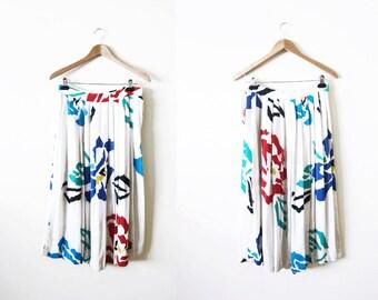 Flax Skirt / Floral Full Skirt / Circle Skirt / Pleated Skirt