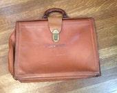 SALE / Vintage Leather Briefcase / Unique Leather Briefcase / 1970's Leather Briefcase