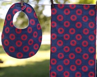 PHISH Baby Bib and Burp Cloth Set - PHISH Fishman Fabric (printed on Kona) and premium white terry cloth, PHISH baby gift