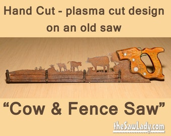 Metal Art Rustic custom cut handsaw Cattle Cow and Fence design | Wall Decor | Recycled Art | Repurposed Made to Order for ranchers