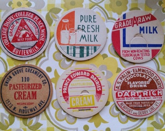 6 Antique Unused Milk Bottle Caps Dairy Farm Creamery No.76