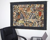 Quilted Wall Hanging, Fiber Art Quilt, Earth Tones