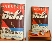Vintage 50s tin sign shop sign advertisement ad German typography 50s font dry cleaning dye factory