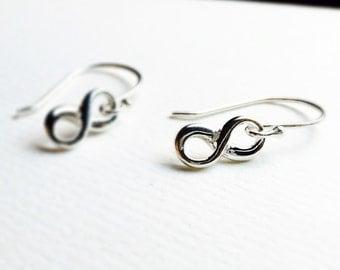 Dainty Infinity Earrings , Sterling Silver Infinity, Eternity Infinity Dainty Sterling Jewelry