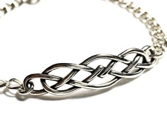 Sterling Silver Celtic Bracelet on Infinty Chain 7 inch, infinity charm celtic minimalist everyday jewelry