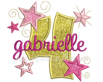 Star Number Four 4th Birthday Applique Machine Embroidery Design Fourth INSTANT DOWNLOAD