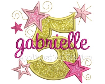 Star Number Five 5th Birthday Applique Machine Embroidery Design Fifth INSTANT DOWNLOAD