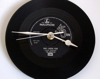 "The BEATLES Vinyl Record CLOCK, ""She Loves You"", made from a recycled 7"" record, Other Beatles songs also available...."