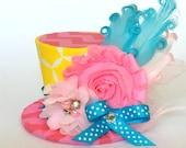 Mini Top Hat Headband, Turqouise, Pink & Yellow, READY TO SHIP, 1st Birthday, Tea Party, Sparkle Birthday, Costume, Photo Prop, Cake Smash