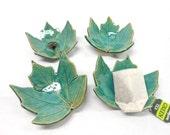 Pottery Maple Leaf, Ceramic Leaf, Pottery Leaf  Dish, Ceramic Leaf Dish, Teaspoon Rest, Chop Stick Rest, Leaf Teabag Holder, in Green Blue