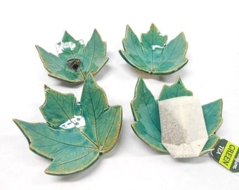 Pottery Maple Leaf, Ceramic Leaf, Pottery Leaf  Dish, Ceramic Leaf Dish, Teaspoon Rest, Chop Stick Rest, Leaf Teabag Holder, in Green Blue