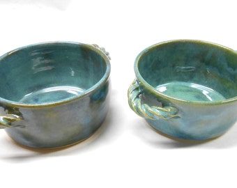 Ceramic Baking Dish French Onion Soup Bowl Pottery Crock Small Casserole Pottery Soup Bowl Individual Casserole Two in Blue and Green