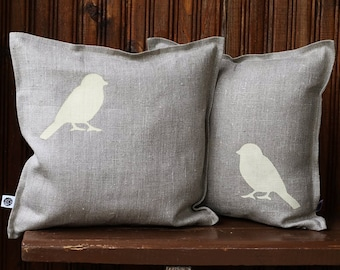 Bird pillow covers set - cream birds cushion cover -  bird print throw pillow - cushion cover for shabby chic home decor  0294