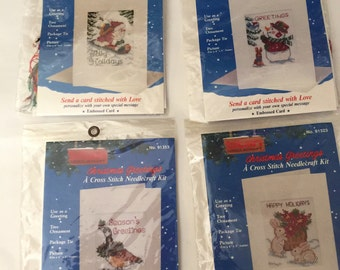 4 Cross Stitch Christmas Cards