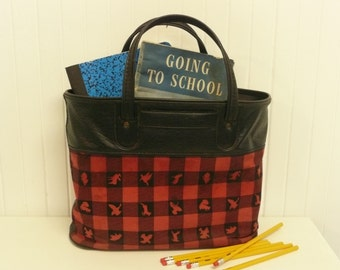 Vintage Plaid Tote Bag, Canvas Picnic Bag, School Bag, Lunch Bag, Farmer's Market Shopping Bag