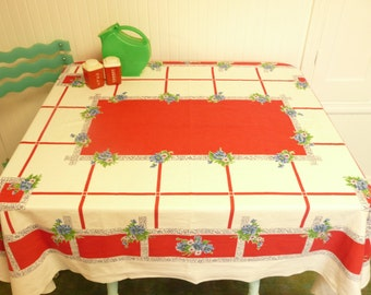 NICE 1950s Tablecoth, Startex Brand Cotton w/ Red, Blue and Green, Floral Plaid, Original Tag - Vintage Home and Travel Trailer Decor