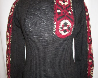 vintage, circa 4os black wool knit sweater with button neck cuffs and red embroidered insert womens size small