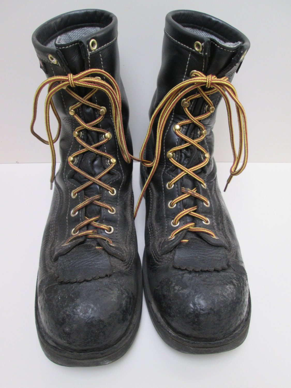 Vintage Danner Boots 11inch Black Leather Steel Toe Lined