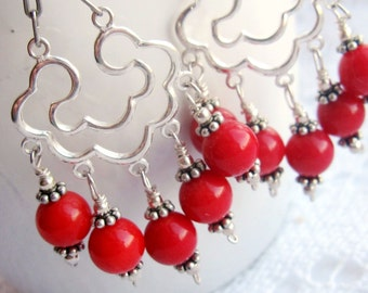 Red Coral Chandelier Earrings-Statement Earrings-Red Earrings-Chandelier Earrings-Sterling Silver-Red Coral Earrings-Long Earrings