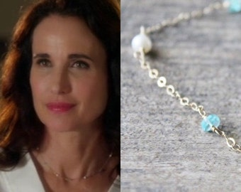 Fall Sale Apatite Necklace,  Apatite and Pearl Necklace - As Seen On Cedar Cove