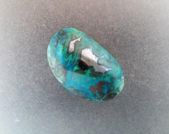 Gem silica Chrysocolla with malachite and Chalcocite freeform cabochon