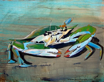 Crab Walk-Art by Jen Callahan Tile,Cuttingboard,Paper Print