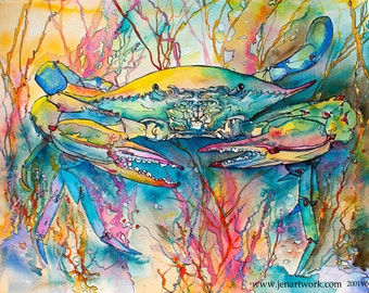 Pastel Crab-Art by Jen Callahan Tile,Cuttingboard,Paper Print