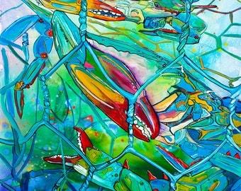 Crab Pot Full-Art by Jen Callahan Tile,Cuttingboard,Paper Print
