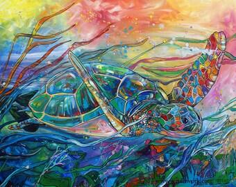 Seaweedwave Turtle-Art by Jen Callahan Tile,Cuttingboard,Paper Print