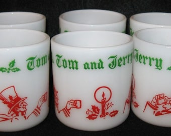 Vintage 6 mug Set Tom & Jerry Hazel Atlas Christmas Mugs Egg Nog Milk Glass